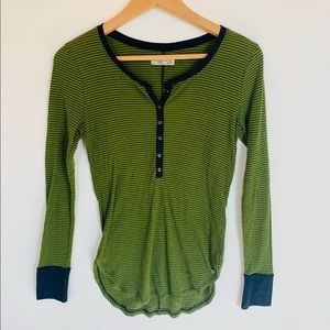 Abercrombie & Fitch  green and navy striped top